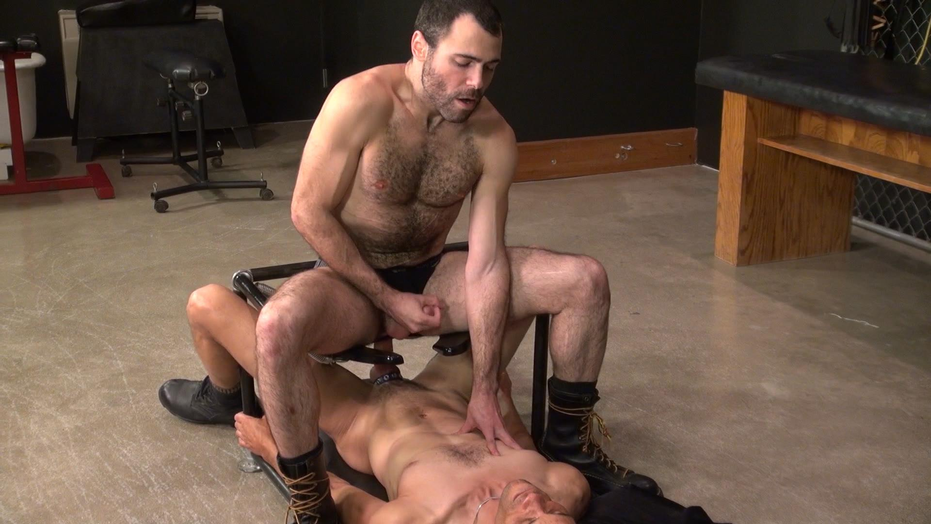 barebacking a hairy guy at a gay sex club | hairy cum