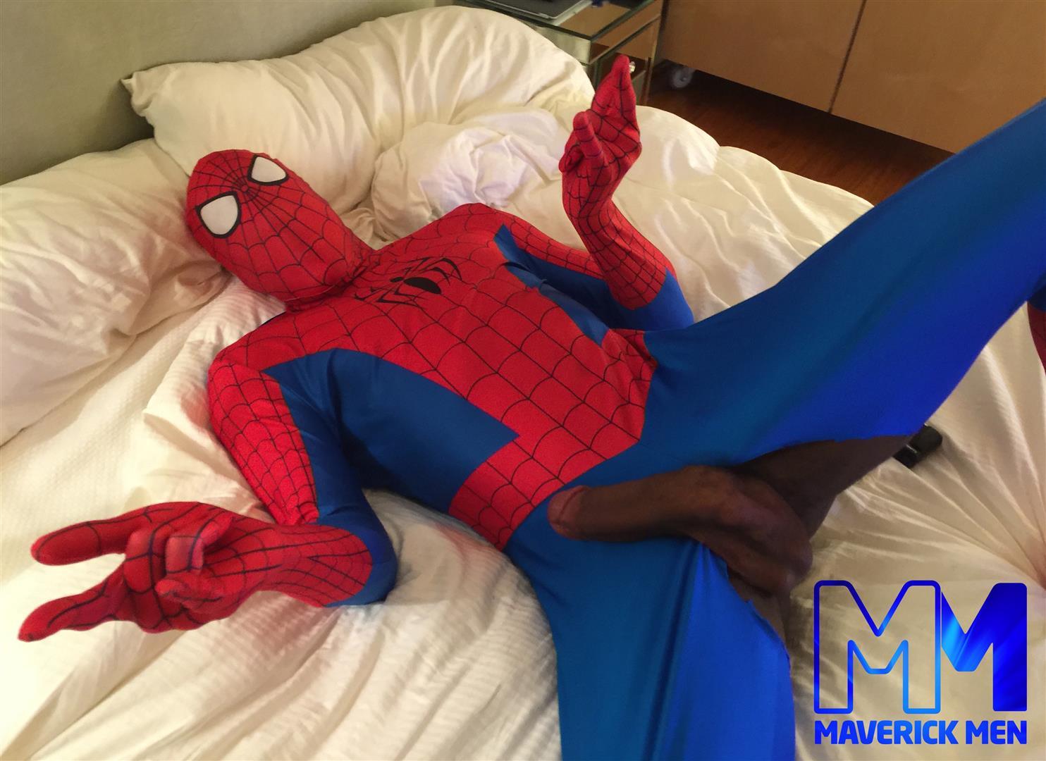 Maverick-Men-Spiderman-With-A-Big-Black-Dick-Bareback-Threesome-Amateur-Gay-Porn-01 Happy Halloween... Did You Know That Spiderman Has A Big Black Dick?