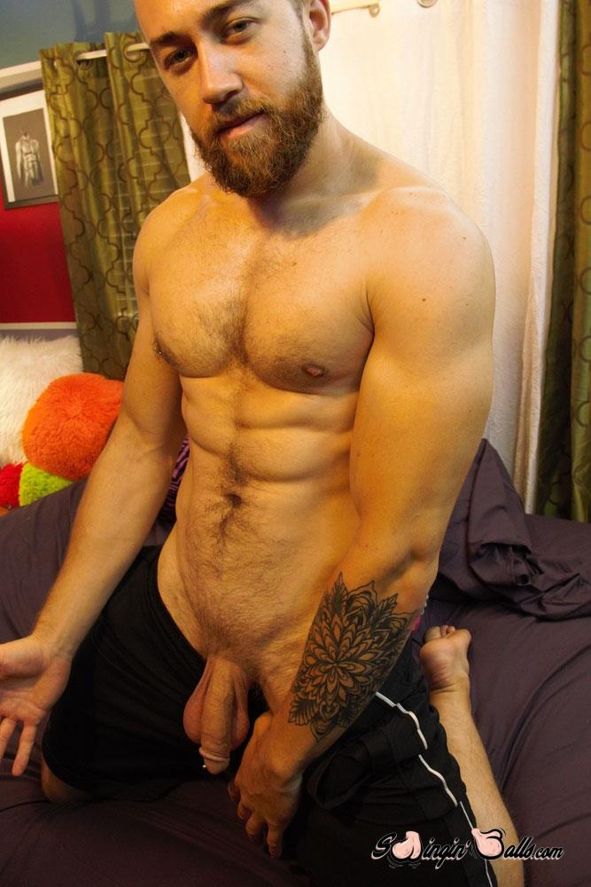 Swingin-Balls-John-Powers-Big-Dick-And-Big-Balls-Jerk-off-Video-01 Hairy Scruffy Guy Strokes His Big Cock and Shoots A Big Load Of Cum